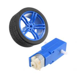 Moteur et roue bleu 3-6V DC